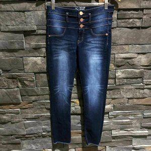 Dark wash skinny stretch  jeans raw hem, juniors s